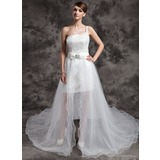 A-Line/Princess One-Shoulder Asymmetrical Organza Satin Sequined Wedding Dress With Beading Bow(s) (002024076)
