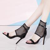 Femmes Cuir verni Mesh Talon stiletto Sandales Escarpins avec Ouvertes chaussures (085211411)