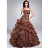 Duchesse-Linie Herzausschnitt Bodenlang Organza Quinceañera Kleid (Kleid für die Geburtstagsfeier) mit Perlen verziert Applikationen Spitze Gestufte Rüschen (021004552)