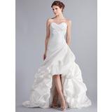 A-Line/Princess Sweetheart Asymmetrical Taffeta Wedding Dress With Ruffle (002025339)