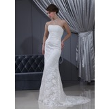 Trumpet/Mermaid Strapless Court Train Chiffon Satin Lace Wedding Dress With Ruffle (002000193)
