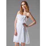 Empire Sweetheart Short/Mini Chiffon Bridesmaid Dress With Ruffle Flower(s) (022020786)