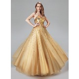 Ball-Gown Sweetheart Floor-Length Tulle Prom Dresses With Sequins (018004807)