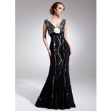 Empire V-neck Court Train Chiffon Mother of the Bride Dress With Beading Flower(s) Sequins Pleated (008014560)