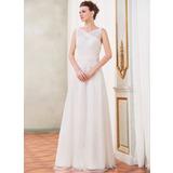 A-linjeformat V-ringning Golvlång Tyll Spetsar Bröllopsklänning med Rufsar Pärlbrodering Paljetter Rosett/-er (002042406)