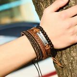 Letter Alloy Leather Rope Unisex Fashion Bracelets (Set of 4) (137197224)