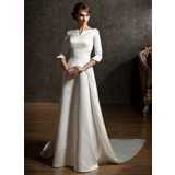 A-Line/Princess Off-the-Shoulder Watteau Train Satin Wedding Dress (002004779)