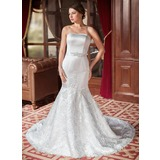 Trumpet/Mermaid Sweetheart Chapel Train Satin Lace Wedding Dress With Beading Sequins Bow(s) (002000063)