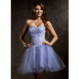 A-Line/Princess Sweetheart Short/Mini Tulle Homecoming Dress With Beading Sequins (022008121)