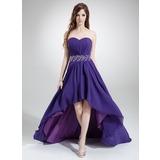 A-Line/Princess Sweetheart Asymmetrical Chiffon Prom Dress With Ruffle Beading (018022777)