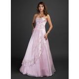 A-Linie/Princess-Linie Herzausschnitt Bodenlang Organza Quinceañera Kleid (Kleid für die Geburtstagsfeier) mit Bestickt Perlen verziert Pailletten (021015338)