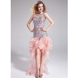 Sheath/Column Scoop Neck Asymmetrical Organza Prom Dress With Beading Cascading Ruffles (018025620)