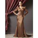 Trompete/Meerjungfrau-Linie V-Ausschnitt Hof-schleppe Charmeuse Kleid für die Brautmutter mit Rüschen Perlen verziert (008014246)