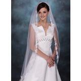 Een-rij Wals Bruids Sluiers met Lace Stoffen Rand (006003745)