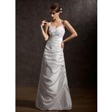 A-Line/Princess V-neck Floor-Length Taffeta Wedding Dress With Ruffle Lace (002001411)