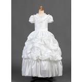 A-Linie/Princess-Linie Bodenlang Blumenmädchenkleid - Taft Kurze Ärmel V-Ausschnitt mit Rüschen/Lace/Suchen Up Skirt (010015770)