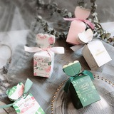 Pretty Floral Theme/Nice Candy Shaped Card Paper Favor Boxes & Containers With Ribbons (Set of 20) (050203410)