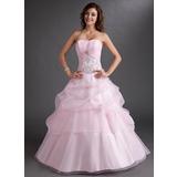 Duchesse-Linie Schatz Bodenlang Organza Quinceañera Kleid (Kleid für die Geburtstagsfeier) mit Bestickt Rüschen Perlstickerei Pailletten (021003115)