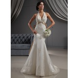 Trumpet/Mermaid Halter Chapel Train Satin Wedding Dress With Embroidered Lace Sash Beading Sequins Bow(s) (002022688)