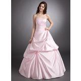 Duchesse-Linie Trägerlos Bodenlang Satin Quinceañera Kleid (Kleid für die Geburtstagsfeier) mit Rüschen Perlen verziert (021002290)