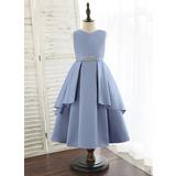 A-Line Tea-length Flower Girl Dress - Satin Sleeveless V-neck With Beading (010172369)