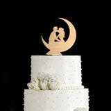 Kissing Couple Wood Cake Topper (119203559)