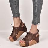 Frauen PU Keil Absatz Sandalen Peep Toe Schuhe (116207631)