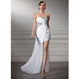 Sheath/Column Sweetheart Asymmetrical Chiffon Prom Dresses With Ruffle Beading (018022506)