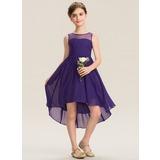 A-Linie U-Ausschnitt Asymmetrisch Chiffon Kleid für junge Brautjungfern mit Rüschen (009173301)
