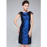 Etui-Linie U-Ausschnitt Knielang Taft Kleid für die Brautmutter mit Rüschen Spitze (008040841)