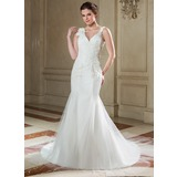Trumpet/Mermaid V-neck Chapel Train Tulle Wedding Dress With Ruffle Lace Beading Flower(s) Sequins (002001335)