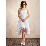 A-Line/Princess Strapless Asymmetrical Lace Wedding Dress (002001414)