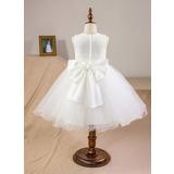 U-Ausschnitt Knielang Tüll Kleid für junge Brautjungfern mit Schleife(n) (009126285)
