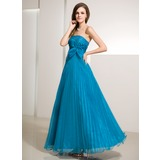 A-Line/Princess Strapless Floor-Length Organza Prom Dress With Ruffle Beading Bow(s) (018014218)