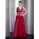 A-Line/Princess V-neck Floor-Length Satin Tulle Prom Dress With Beading (018014778)