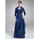 A-Linie Trägerlos Bodenlang Taft Kleid für die Brautmutter mit Spitze Perlstickerei Pailletten Gestufte Rüschen (008006462)