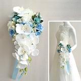 Comely Cascade Cloth Bridal Bouquets - (123205624)
