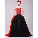 Duchesse-Linie Wellenkante Sweep/Pinsel zug Charmeuse Quinceañera Kleid (Kleid für die Geburtstagsfeier) mit Perlen verziert Applikationen Spitze (021016159)