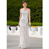 A-Line/Princess One-Shoulder Sweep Train Tulle Prom Dress With Beading Sequins Split Front (018024346)
