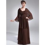 Empire-Linie U-Ausschnitt Bodenlang Chiffon Kleid für die Brautmutter mit Rüschen Blumen (008006391)