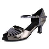 Frauen Lackleder Heels Sandalen Latin mit Knöchelriemen Tanzschuhe (053021565)