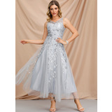 A-Line V-neck Ankle-Length Homecoming Dress (022209567)