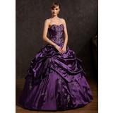 Duchesse-Linie Herzausschnitt Bodenlang Taft Quinceañera Kleid (Kleid für die Geburtstagsfeier) mit Bestickt Rüschen Perlen verziert (021015146)