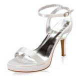 Women's Satin Cone Heel Platform Sandals With Buckle (047005111)