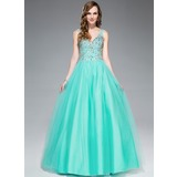Ball-Gown V-neck Floor-Length Tulle Prom Dress With Beading Sequins (018045167)