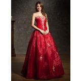 Duchesse-Linie Herzausschnitt Bodenlang Organza Quinceañera Kleid (Kleid für die Geburtstagsfeier) mit Bestickt Rüschen Perlen verziert (021004600)