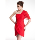 Sheath/Column One-Shoulder Short/Mini Chiffon Homecoming Dress With Ruffle (022009013)