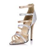 Frauen Funkelnde Glitzer Stöckel Absatz Sandalen Absatzschuhe Peep Toe mit Reißverschluss Schuhe (087051700)