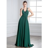Empire Halter Watteau Train Chiffon Prom Dress With Ruffle Beading (018135231)