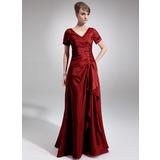 A-Linie/Princess-Linie V-Ausschnitt Bodenlang Taft Kleid für die Brautmutter mit Perlen verziert Pailletten Gestufte Rüschen (008006337)
